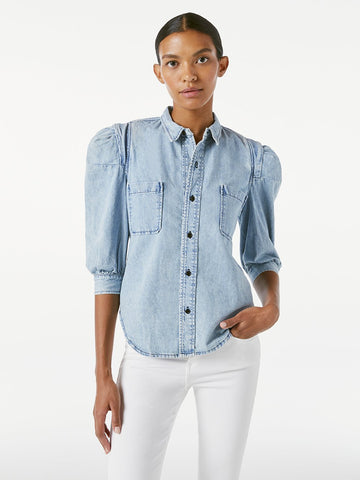 RSS029 Denim rosette sleeve shirt