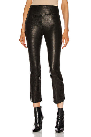 FLR015LEMB Crop flare leather legging