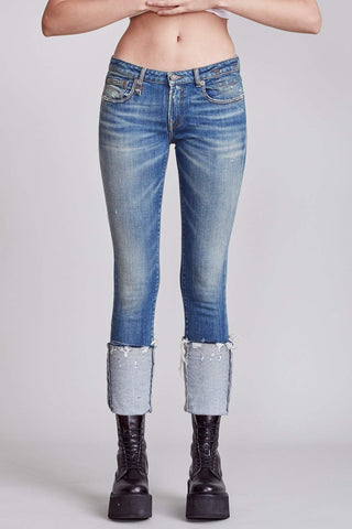 R13W4033890A Kate low rise skinny jean with distressed cuff
