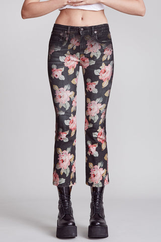 R13W0009320 Kick fit jean with screen printed rose motif