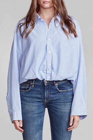 R13W9421JFB Gathered hem pinstripe shirt