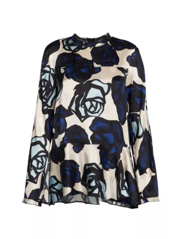 CAMA0359A0TV7610 long sleeve crew neck blue floral blouse