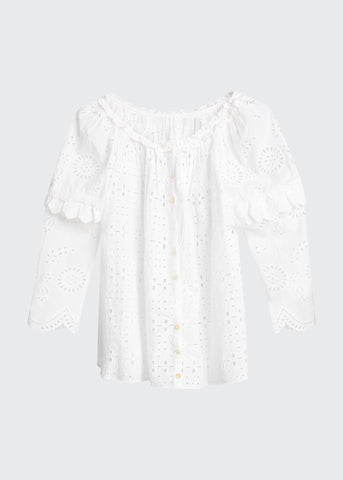 LT712784 Pietro eyelet embroidered shirt