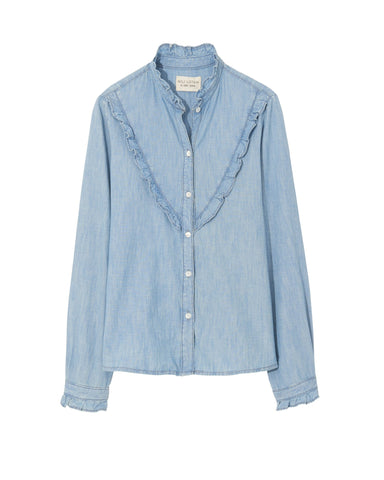 10688W754 Marcela chambray long sleeve shirt with ruffle
