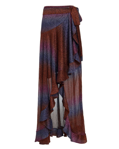 SAIA623US RAINBOW LUREX WRAP SKIRT