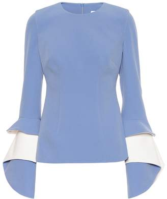 T183.1crew neck top with lotus sleeve detail