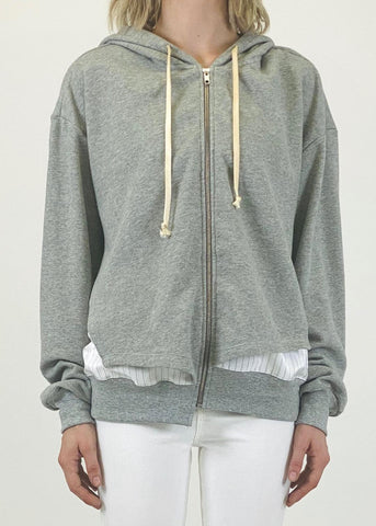 WL21PS5008-H Paneled mix media hoodie