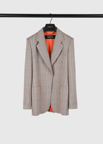 V1207VED Plaid jacket with denim trim