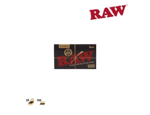 RAW Classic Black Single Size Double Fold 100/pack