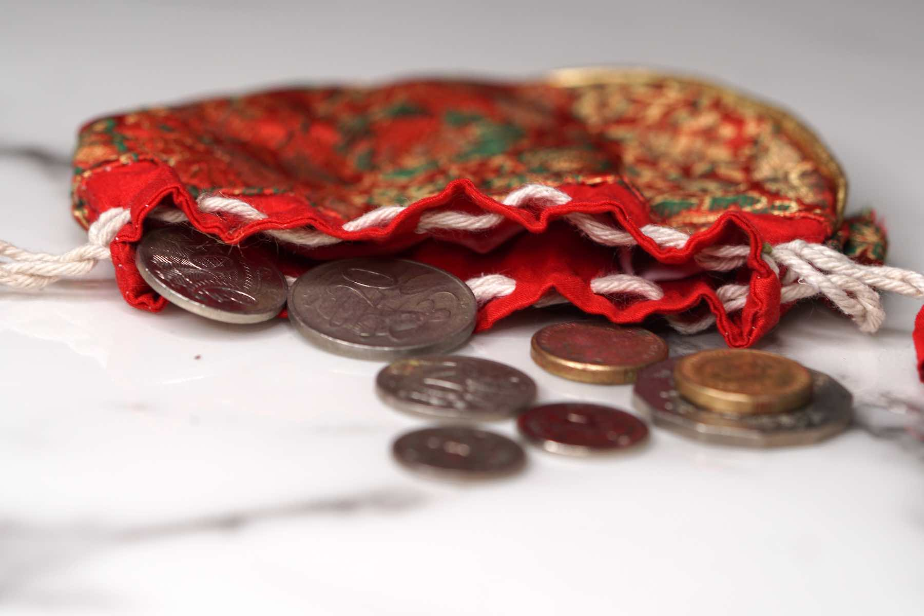 Hand made pouch to carry coins and small items