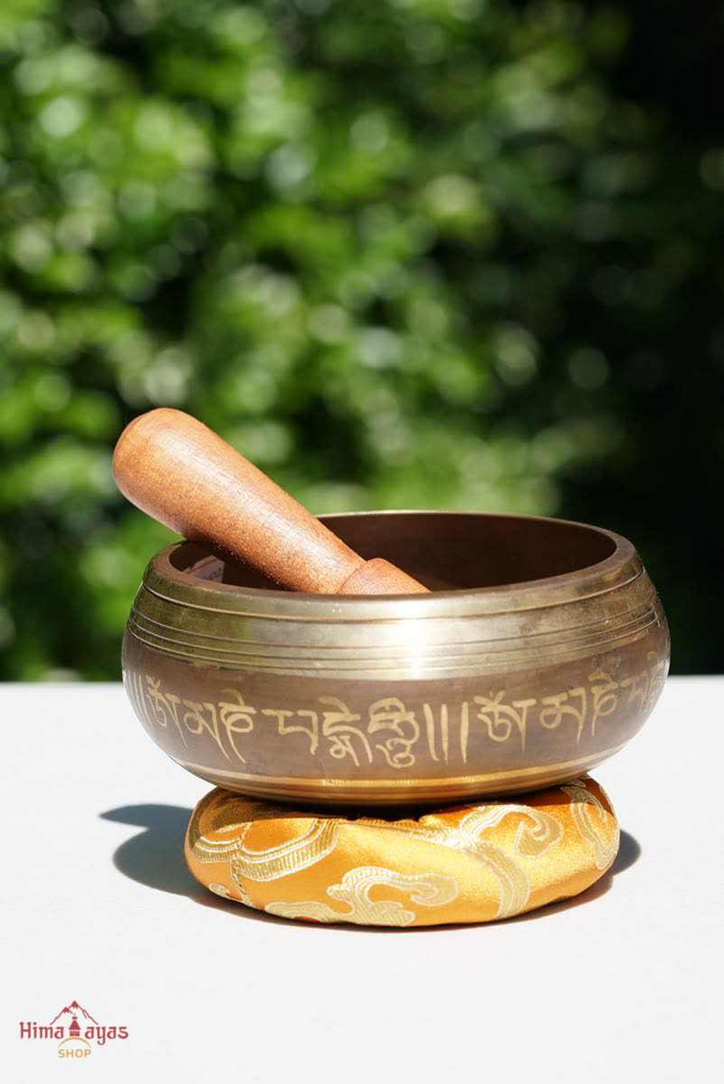 Mini singing bowl with Pancha buddha or 5 Buddha mandala hand carved for sound healing and meditation