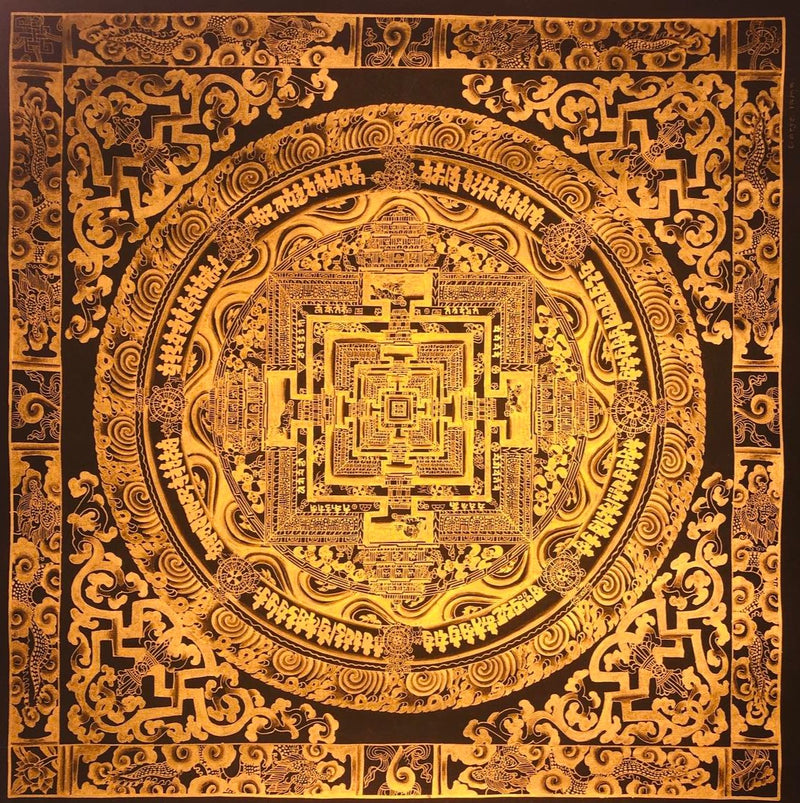 Kalchakra Mandala Black and Gold Thangka painting for wall hanging art