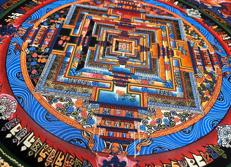 Kalchakra thangka art with dragon on cotton canvas