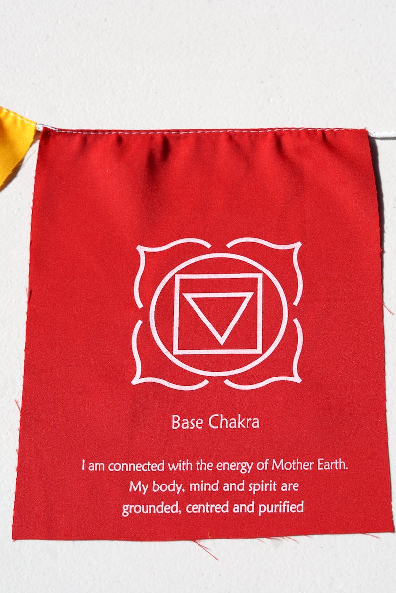 Root Chakra with meaning on prayer flag