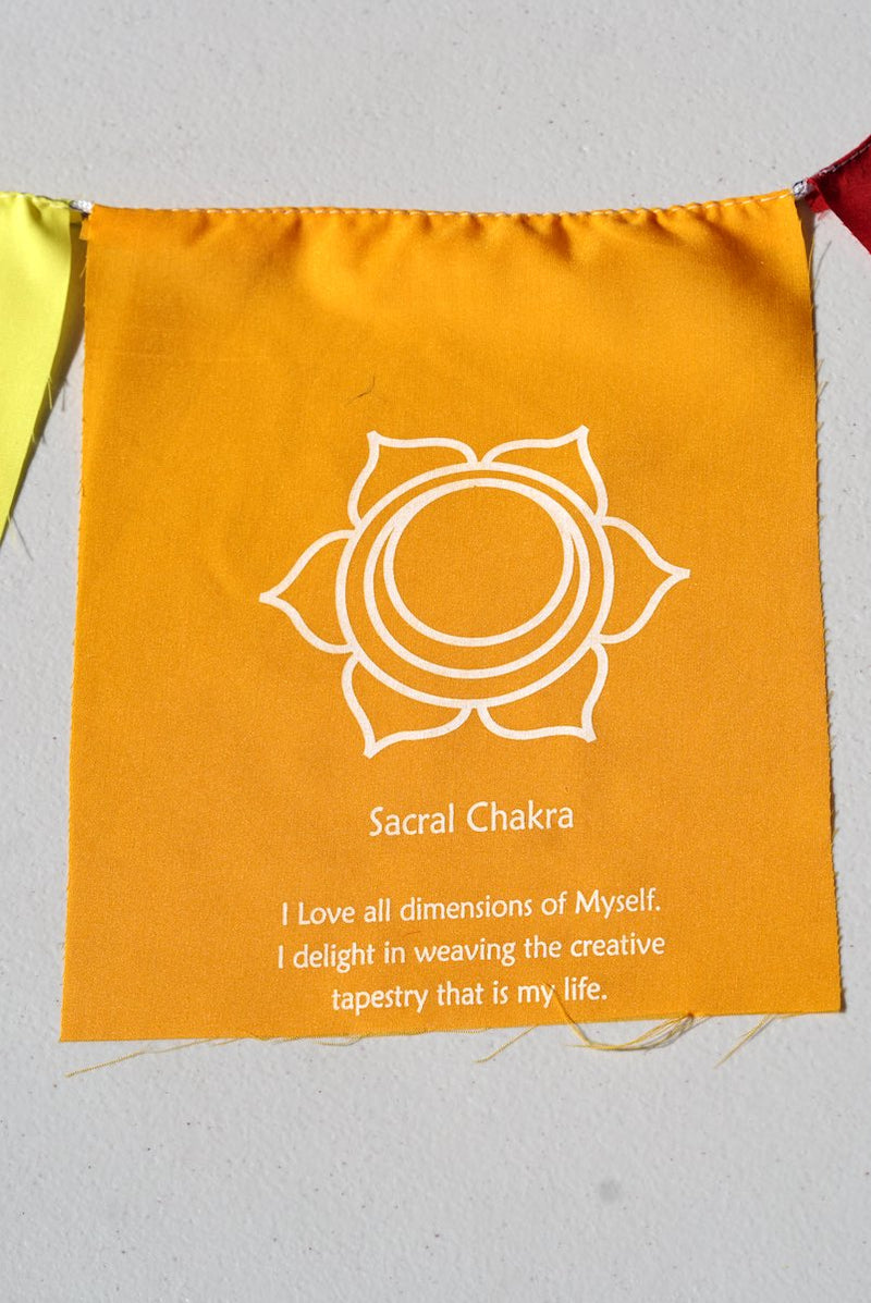 Sacral Chakra with meaning on prayer flag