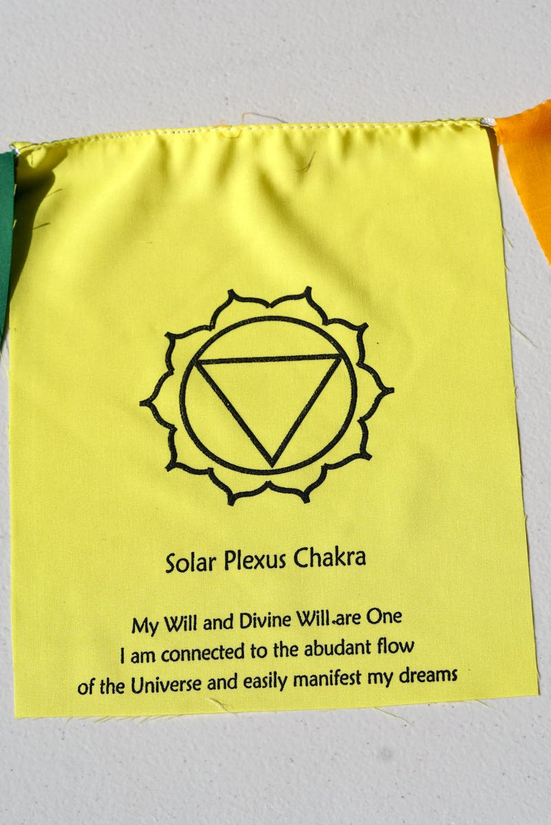 Solar Plexus Chakra with meaning on prayer flag