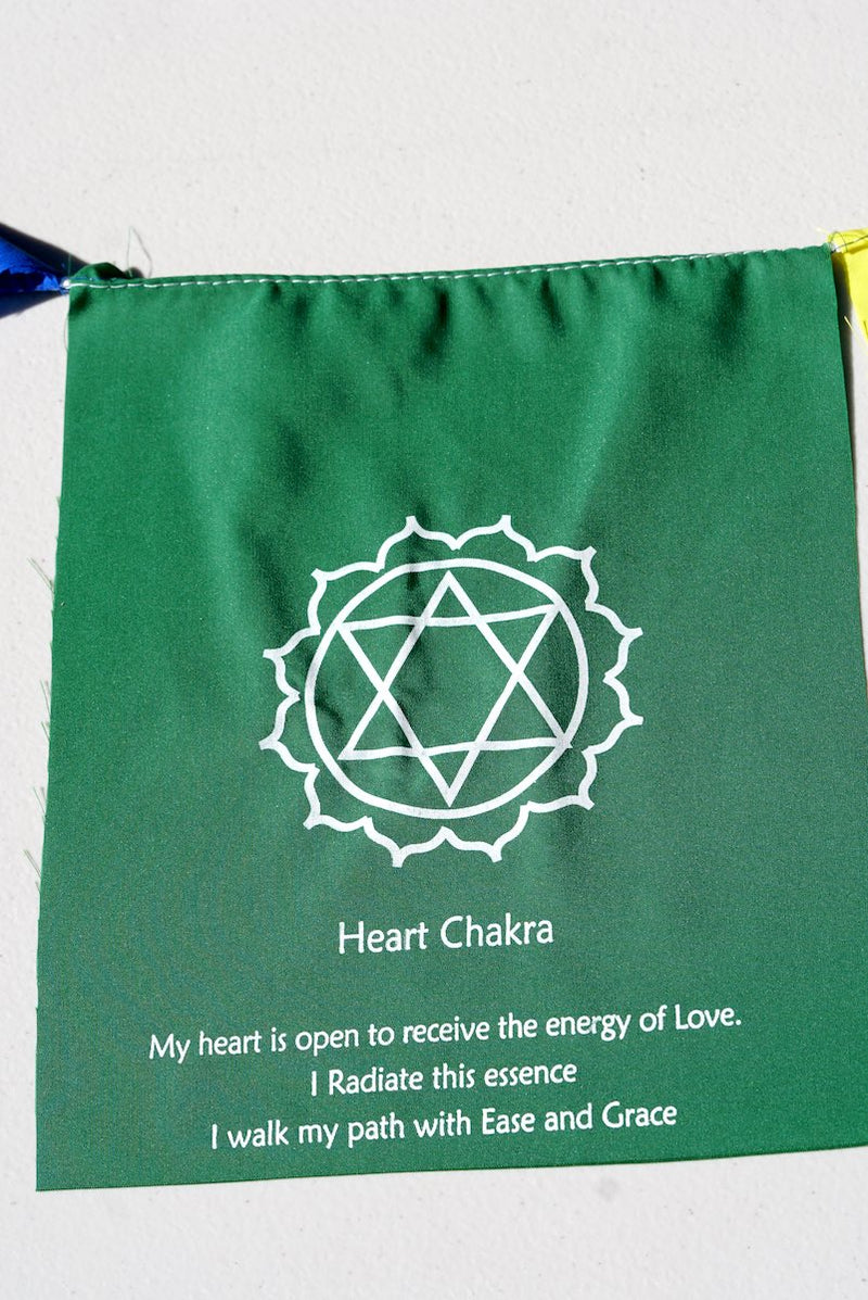 Heart Chakra with meaning on prayer flag