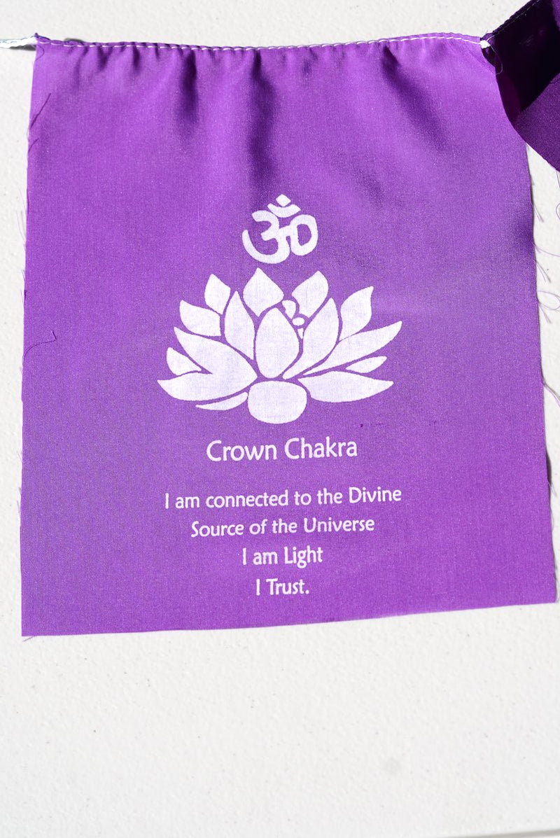 Crown Chakra prayer flag with meaning for hanging