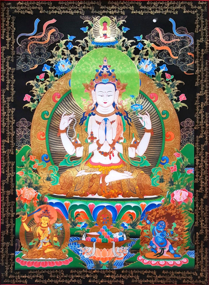 Chenrezig with Mantra painting