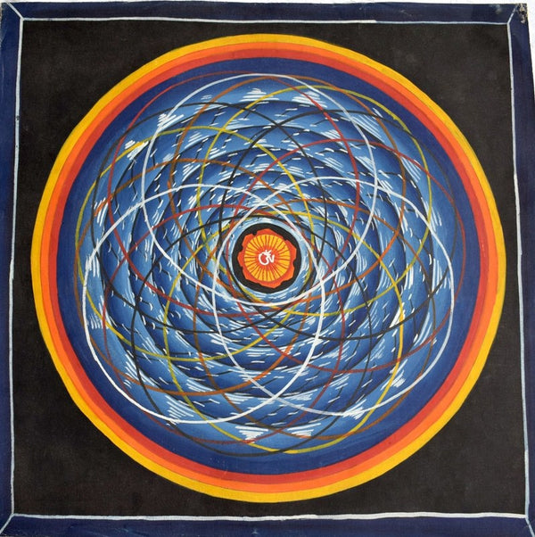 Cosmic mandalas are the intricate dance of the sun, moon, and other planets around Mount Meru. This is a hand painted Cosmos Mandala from Kathmandu , Nepal.