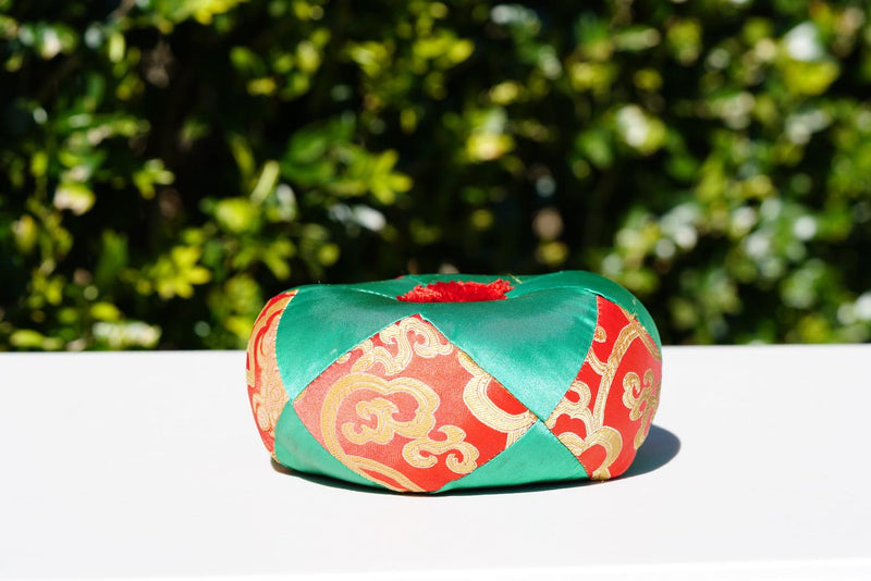 Green and Red Cushion for singing bowl