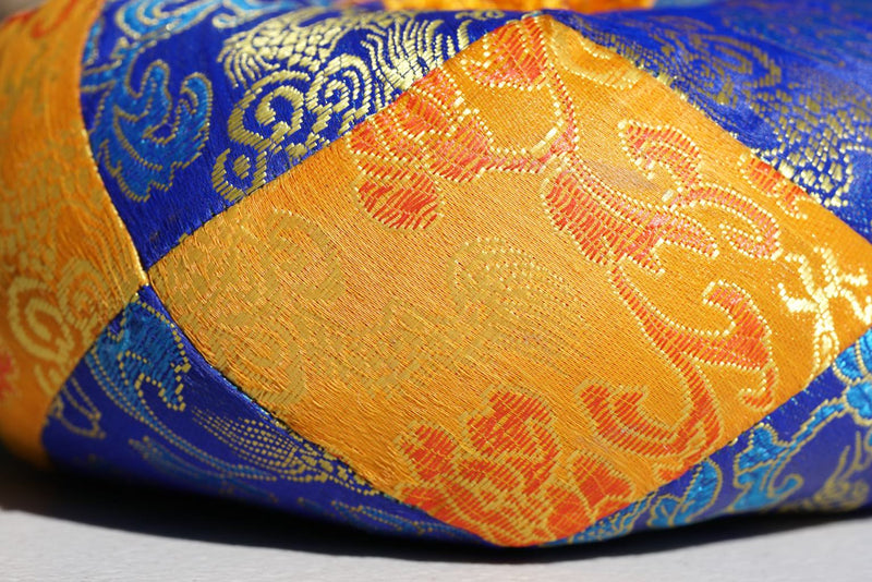 Singing bowl cushion hand embroidery in silk from Nepal