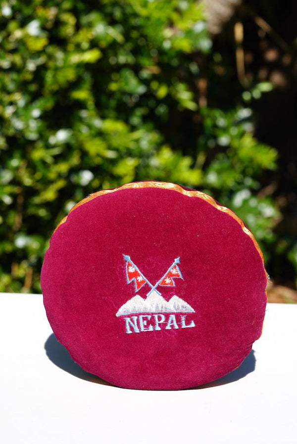 Singing bowl cushion hand embroidery in velvet Nepal