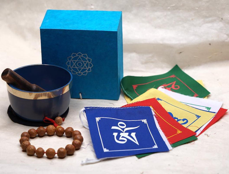 A meaningful gift set of Chakra healing bowl, bodhi seed bracelet, prayer flag for creative thinking and deep meditation, a perfect gift for your dad this Father's day.