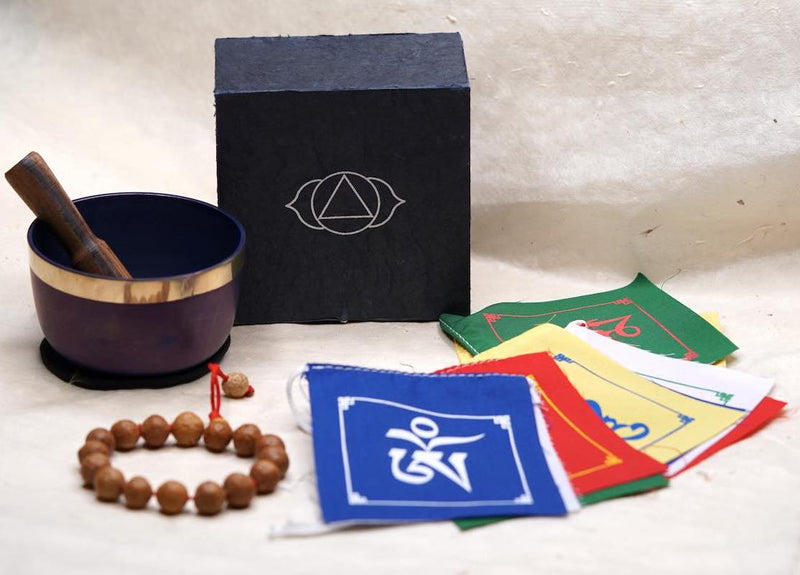 Father's day gift ideas. Prayer flag, bodhi seed bracelet and chakra bowl set  for aura cleansing, mindful gift for Father's day.