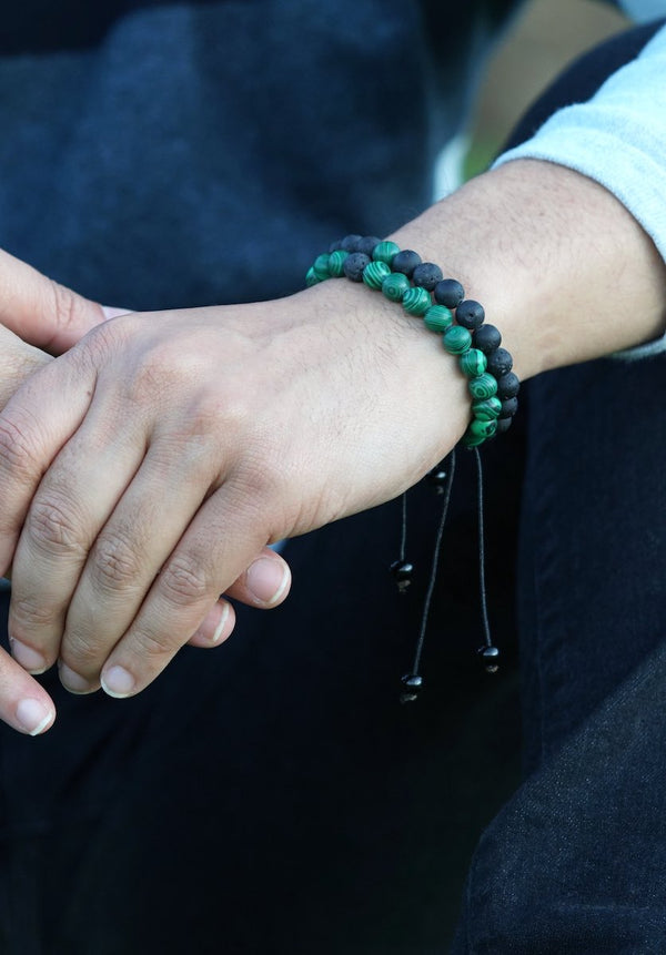 Malachite with Lava Handmade Wrist Bracelet | 100% Natural Stone