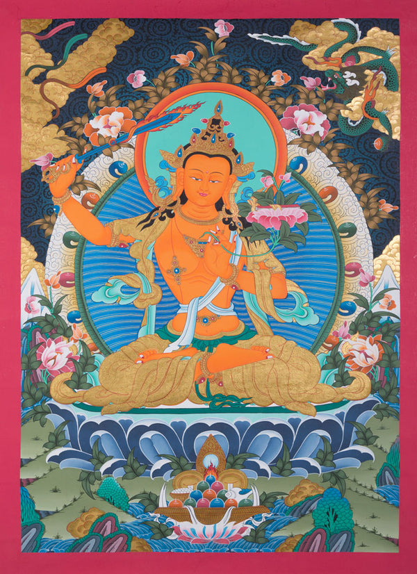 Manjushri is the Bodhisattva of transcendent wisdom. With the double-edged  sword on his right hand he cuts through the illusion and with his left hand holds a lotus with book of Prajna Paramita.