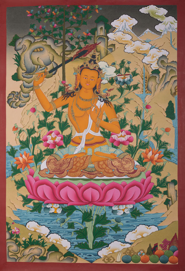 Buddhist Thangka are used as support for one's meditation practice. Manjushri is the Bodhisattva of transcendent wisdom. With the double-edged  sword on his right hand he cuts through the illusion and with his left hand holds a lotus with book of Prajna Paramita.