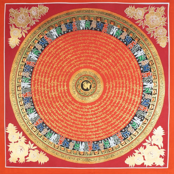 beautiful red and gold mantra mandala hand painted on cotton canvas on best buy at online