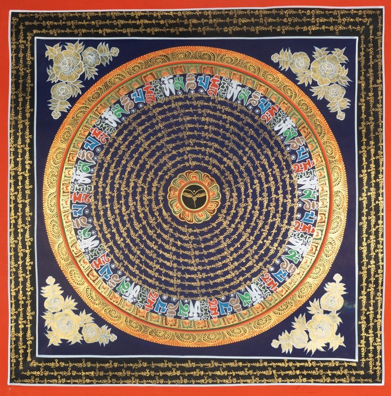 Beautiful hand painted OM Mandala Thangka art with buddha eye at center. Best buy offer on thangka art at Himalayas Shop