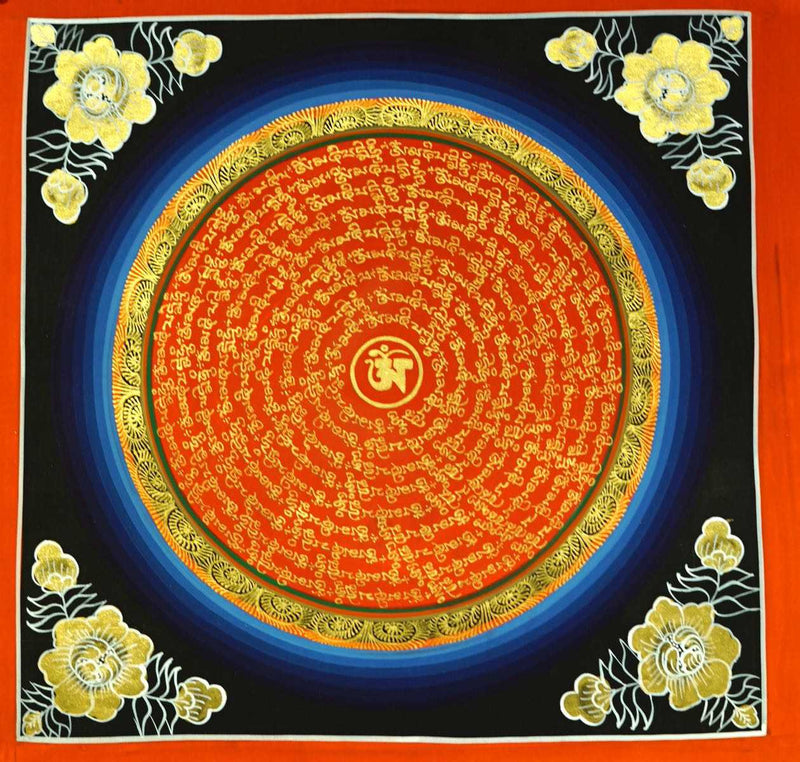 Blue Om mandala thangka