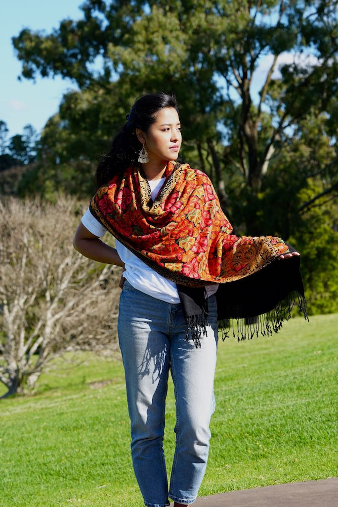 Buy our best hand woven pashmina stole online at lowest price. These Cashmere Embroidery stole has a great design for any wear at any place made ethically by supporting people from Himalayas.