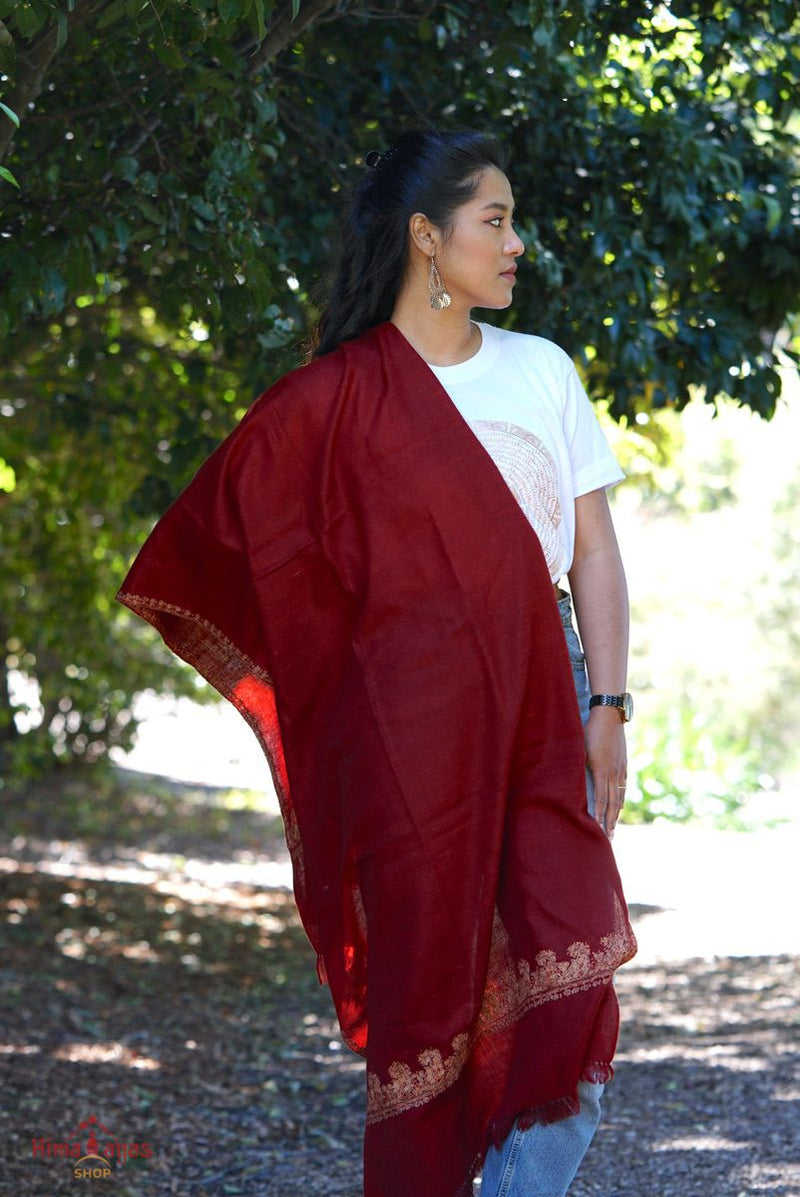 Marron color embroidered pashmina shawl. Hand embroidered and ethically sourced from Nepal.