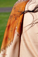 Beige color light embroidered pure pashmina shawl from Nepal. This can be worn of any occasion.