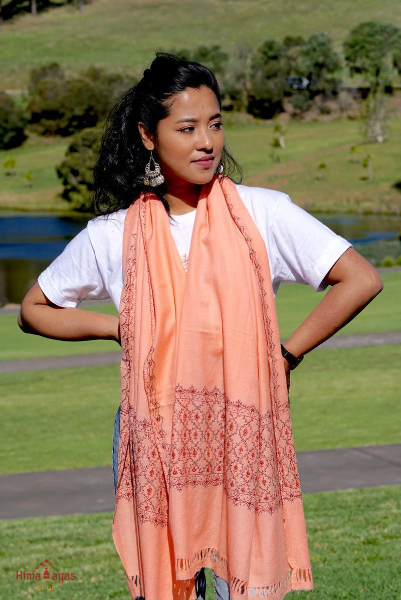 Ethically sourced biodegradable pashmina shawl from Nepal.  This salmon pink color pashmina shawl is most women favourite!