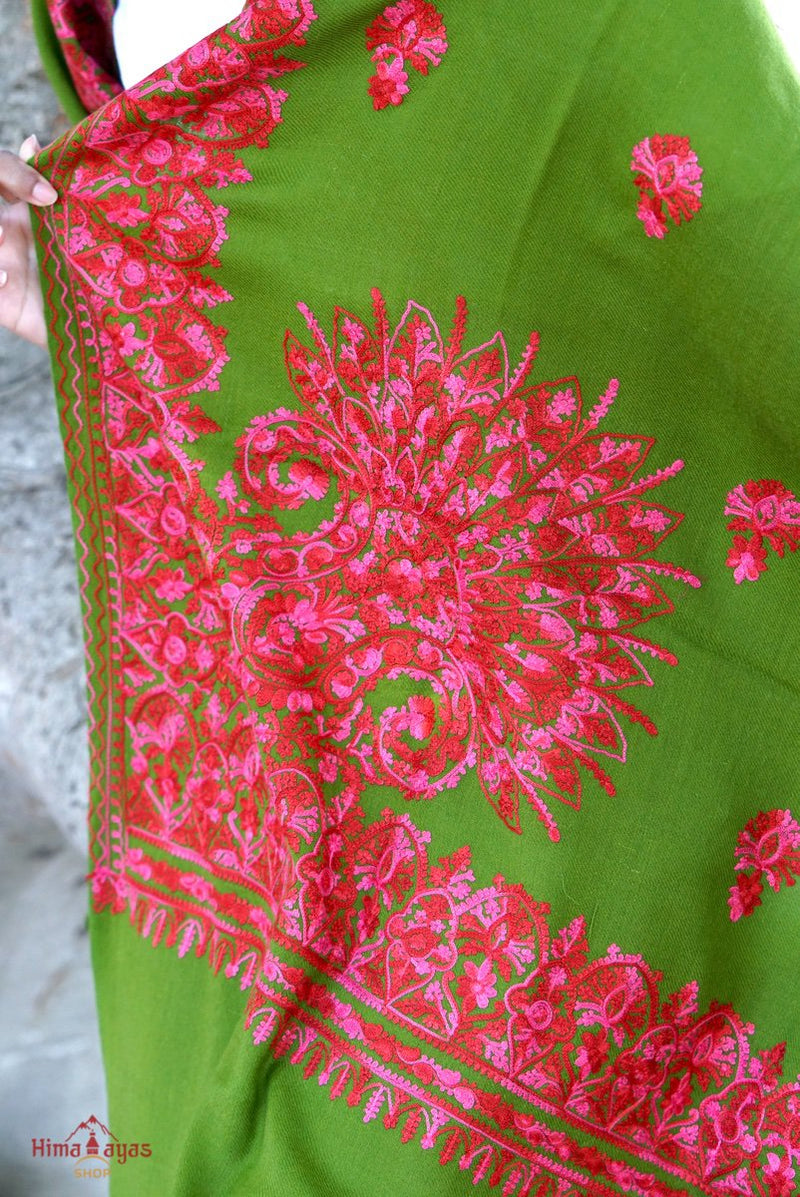 Pashmina shawl is among the most desirable shawl because of its softness, smoothness and warmness. Green pashmina shawl with pink embroidery for women everyday wear.