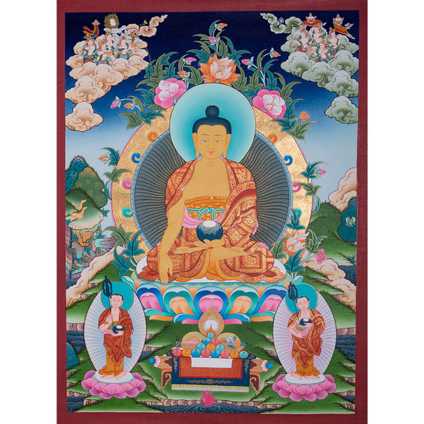 High quality Thangka painting of Shakyamuni Buddha by master artist from Nepal. Original Thangka Painting hand painted by master.