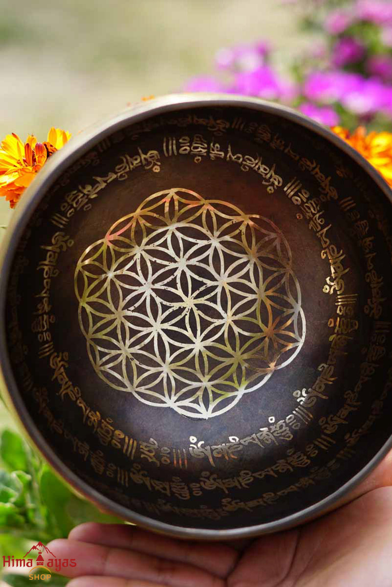 Singing Bowl with Flower of Life symbol