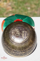 Mantra singing bowl with Buddha eye at the center. Hand made singing bowl from Nepal