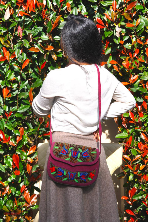 A unique style eco-friendly women's crossbody bag with hand embroidery, crafted ethically from Himalayas.