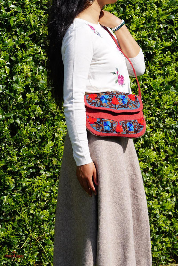 A stylist women's crossbody bag for everyday use, handmade and kashmiri embroidery design for boho style.