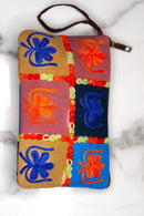Beautiful handmade women's wallet with Kashmiri embroidery, 1 Zip pocket and wristlet.
