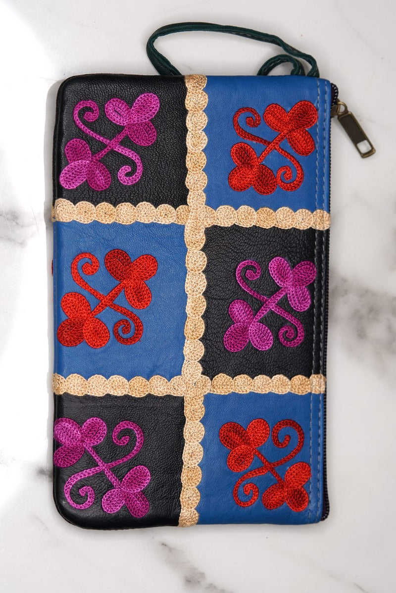 Fair trade womens purse with kashmiri design hand embroidery colorful purse.