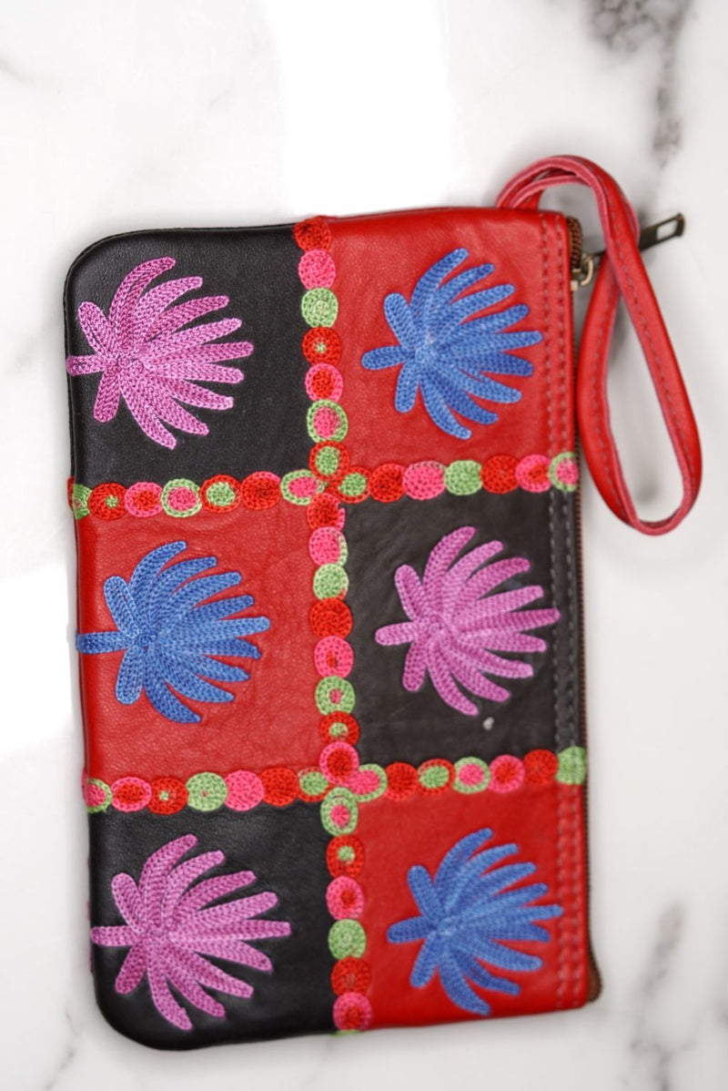 Fashionable style purse is a stunning embroidered Kashmir wallet, with a gorgeous boho style design.