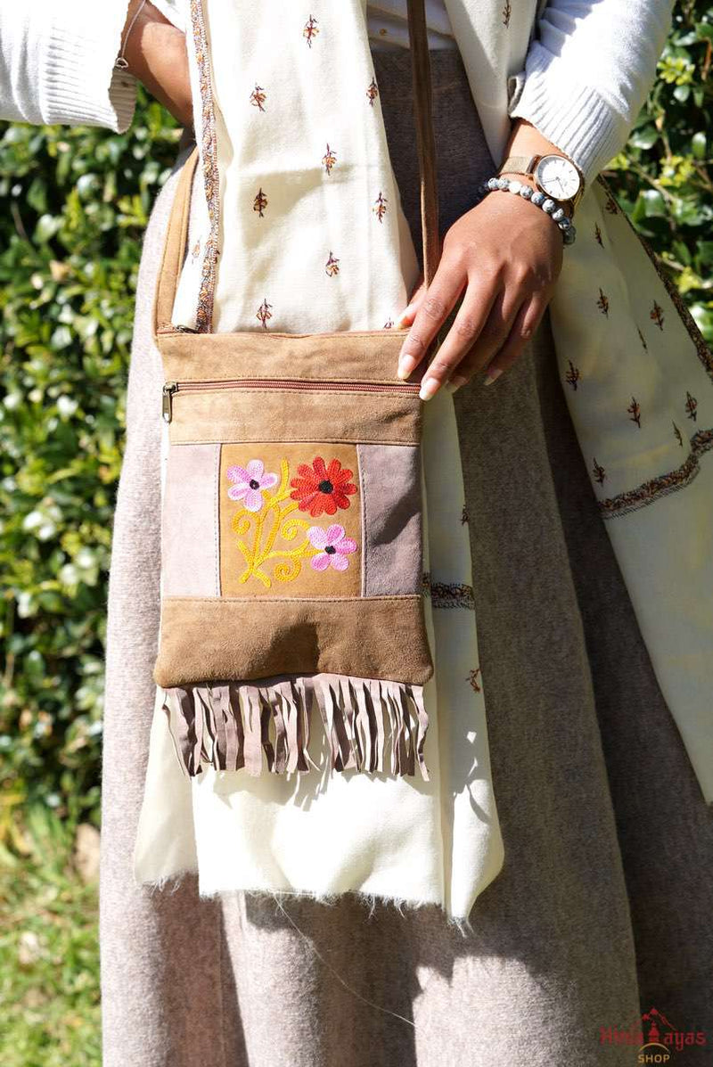 A unique style women's crossbody bag, crafted ethically from Himalayas.