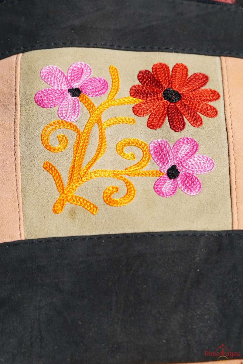 A unique style women's shoulder bag, crafted with beautiful cashmere floral embroidery to give it a chic stylish look..